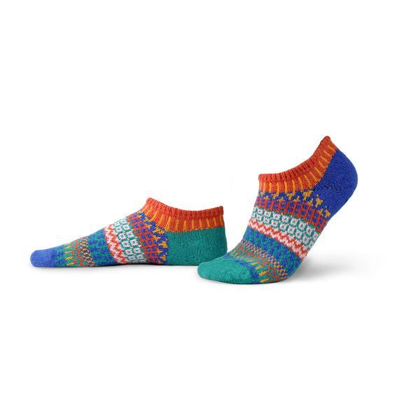Solmate Cayenne Ankle Sock features orange, teal, aqua, gold and peach.