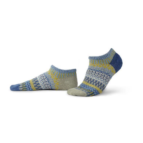 Solmate Chicory Ankel Sock in colors of slate blue, denim blue, dark gray, light gray, moss green.