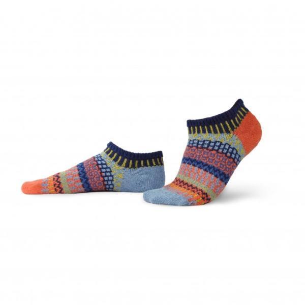 Solmate Masala Ankle Sock in orange, light blue, black. green and navy.