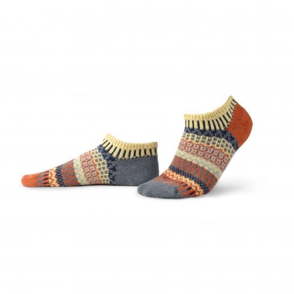 Solmate Nutmeg Ankle sock in colors of creamy yellow, rustic orange, navy, blue-gray, periwinkle.