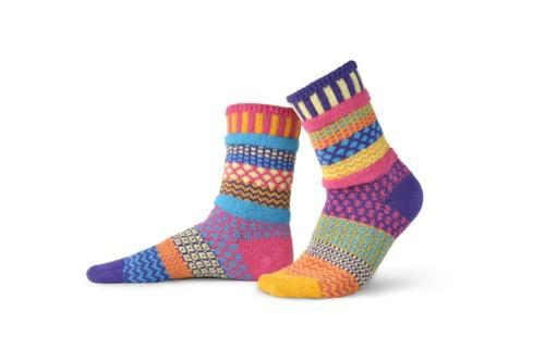 Solmate Sunny Crew Sock features colors of gold, aqua, magenta, pink pale green.