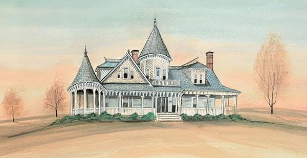 Sidna Allen House limited edition print by P Buckley Moss available at Canada Goose Gallery. Historic image, Carroll County, Virginia. Light blue, gray, peach colors.