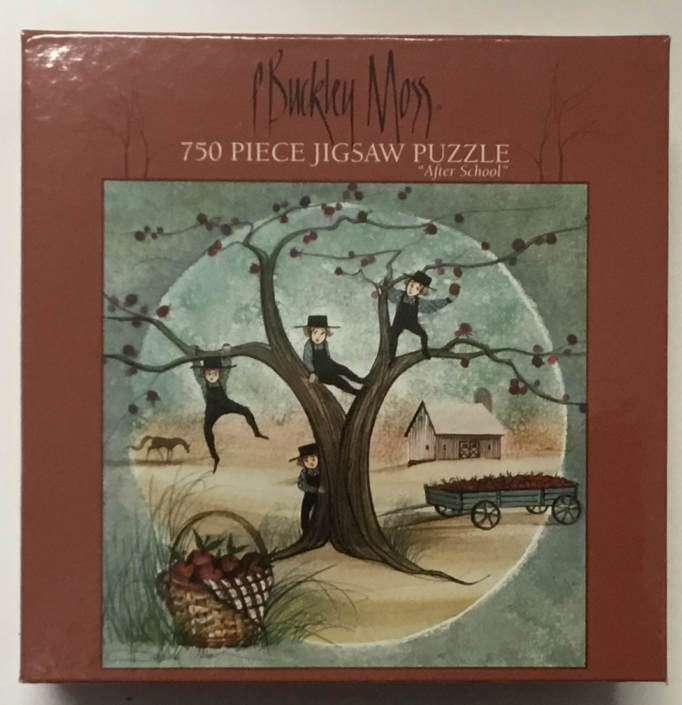 P Buckley Moss image After School on jigsaw puzzle.750 piece, 22 x 22 inch finished size.