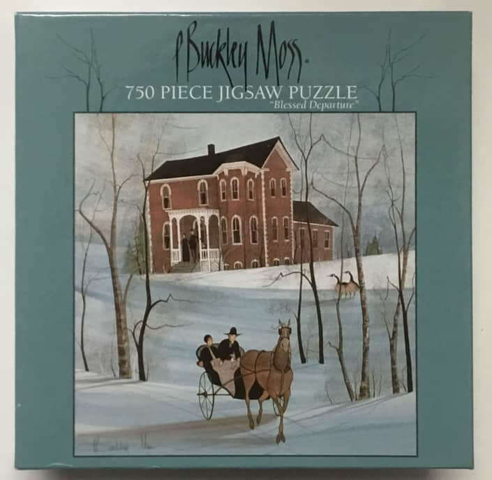 P Buckley Moss image Blessed Departure on jigsaw puzzle.750 piece, 22 x 22 inch finished size.