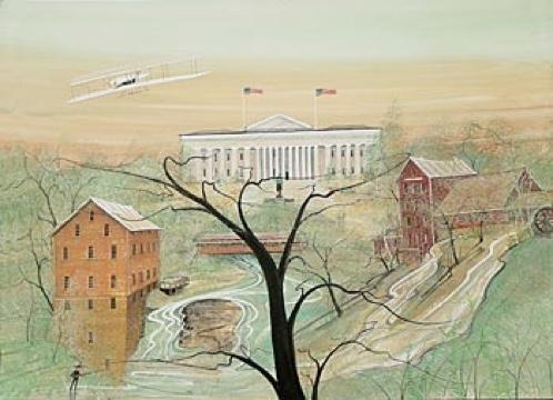 Ohio Legacy by P Buckley Moss features several different state landmarks and was printed for the Collectors Convention in Ohio, 2003.