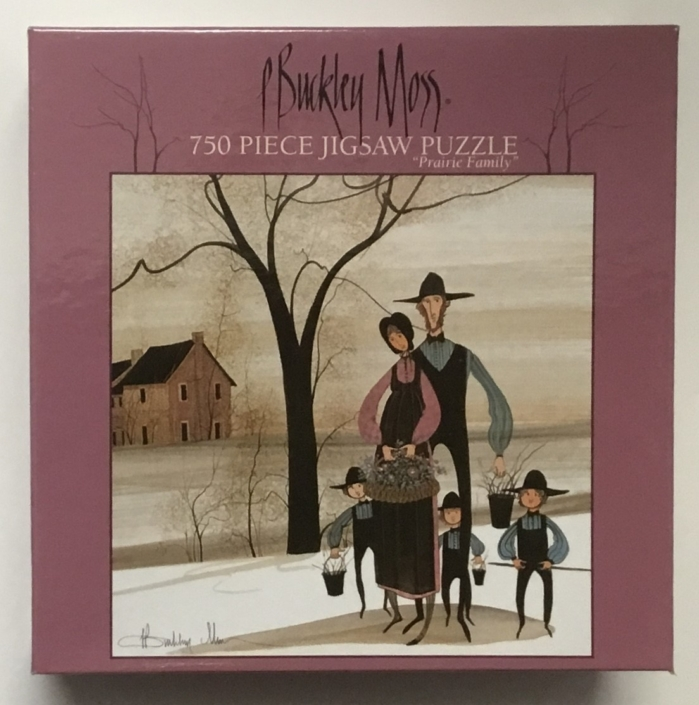 P Buckley Moss image Prairie Family on jigsaw puzzle.750 piece, 22 x 22 inch finished size.