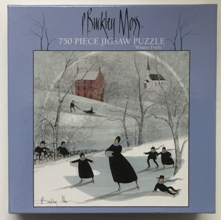 P Buckley Moss image Winter Frolic on jigsaw puzzle.750 piece, 22 x 22 inch finished size.