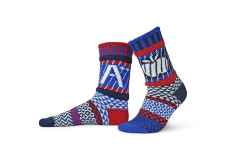 Solmate Teacher crew sock in colors of Red, Royal Blue, Navy, White.