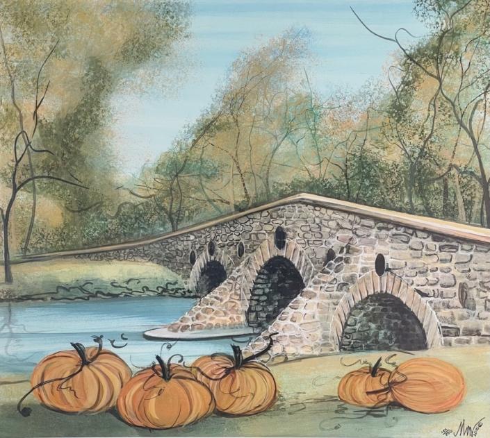 p-buckley-moss-conewago-creeks-humpback-bridge-art-print