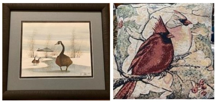 Breast Cancer Support Raffle P Buckley Moss framed print and winter together pillow